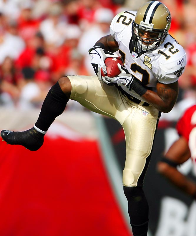 Last week: 1 <br><br>Word is out about Colston, but opposing defenses still can't stop the seventh-round pick out of Hofstra. He had 11 catches for 123 yards and a touchdown in New Orleans' win over Tampa Bay last week. Colston ranks third in the NFL with 700 yards receiving.