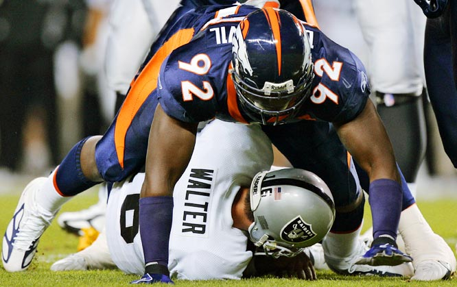 Last Week: Unranked <br><br>Every time announcers mention Dumervil, which is often, because he has become a big factor for the Broncos' defense, they bring up that he's undersized. He has six sacks and has become a real problem for opposing offenses.