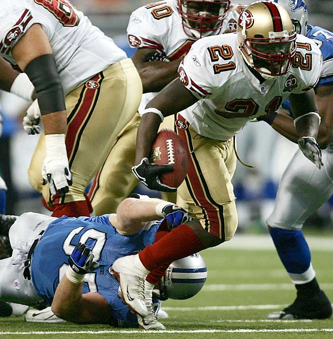 San Francisco running back Frank Gore set a franchise record with 148 yards rushing in the first half, including a 61-yard touchdown run, before leaving with a concussion in the third quarter against Detroit.