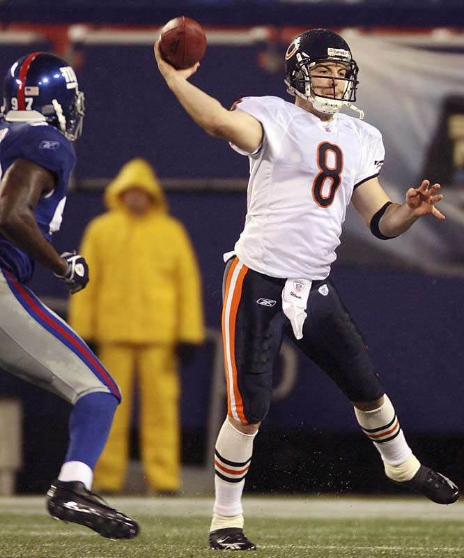 Despite struggling through almost the entire first half, quarterback Rex Grossman stood tall in the face of the Giants defense, throwing for 246 yards and three touchdowns to lead Chicago.