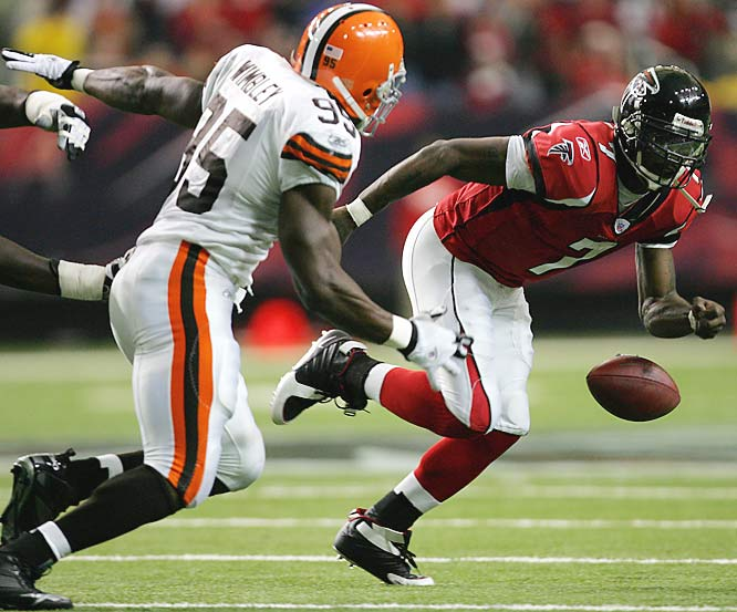 Atlanta quarterback Michael Vick fumbles the ball off his own knee on a draw play late in the fourth quarter at the Cleveland 27. The Browns recovered the fumble with 2:18 left and held on to win the game.