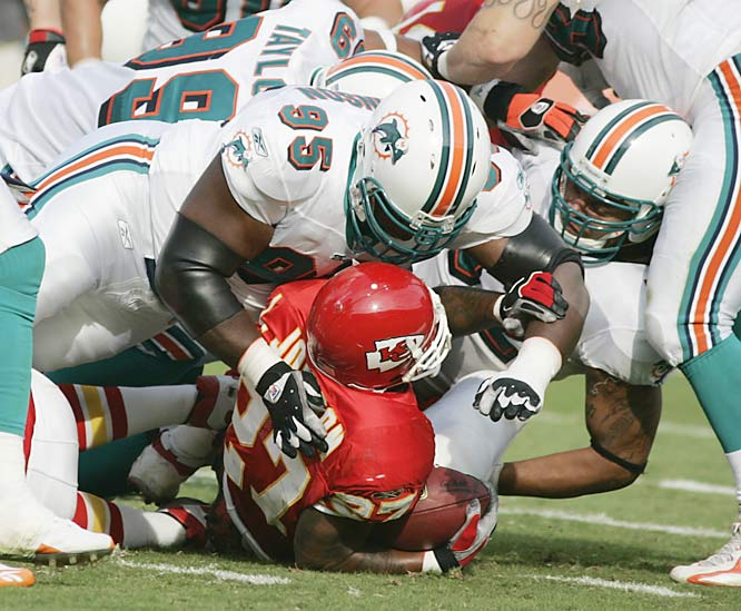 Miami defeated Kansas City by taking an early 13-point lead and holding Larry Johnson to just 75 rushing yards on 18 carries. Johnson came into Sunday's game averaging 143.1 rushing yards per game, second best in the NFL.