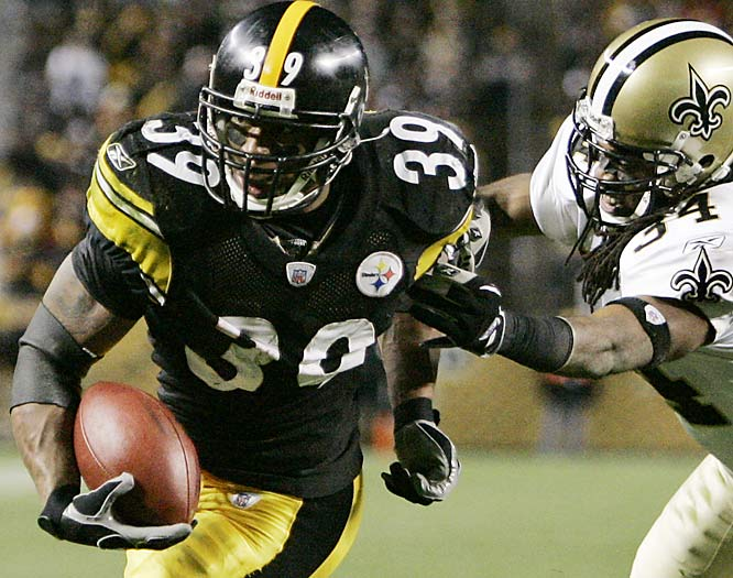 Pittsburgh running back Willie Parker breaks an attempted tackle by Saints cornerback Mike McKenzie to score one of his two fourth quarter touchdowns.  Parker ran for 213 yards on 22 carries, including runs of 72 and 76 yards.