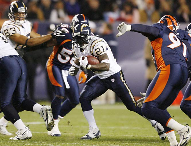 San Diego running back LaDainian Tomlinson reached 100 touchdowns faster than any other player in NFL history after scoring four times against Denver on Sunday night. Tomlinson has 102 touchdowns in his career, with 22 in 10 games this season.