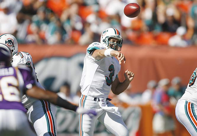 Miami quarterback Joey Harrington had 254 yards in his first career win against Minnesota, ending a six-game losing streak that dates to his days with Detroit. Former Vikings quarterback Daunte Culpepper missed his sixth consecutive game with a knee injury.