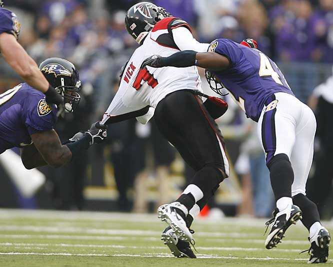 Michael Vick was sacked five times for 45 yards in losses and completed only 11 of 27 passes for 127 yards as Atlanta lost its third in a row against the over-powering Ravens.