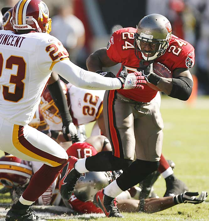 "Tampa Bay running back Carnell ""Cadillac"" Williams rushed for a season-high 122 yards to help spoil the debut of Redskins quarterback and former Auburn teammate Jason Campbell."