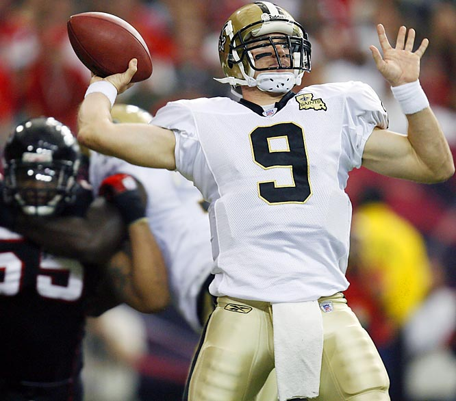 Drew Brees threw for 349 yards -- his fifth consecutive game over 300 yards -- and two touchdowns against Atlanta. Brees leads the NFL in passing with 3,463 yards, 500 more than second-place Peyton Manning.