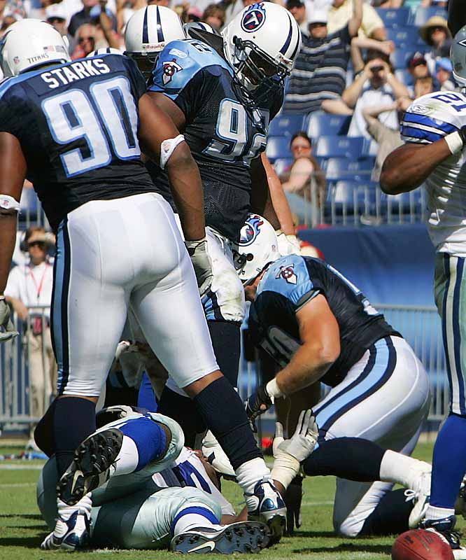 The Titans brought back Haynesworth after his five-game suspension for stepping on Andre Gurode's head, but one of the conditions is that he undergo anger-management counseling. We're all for giving a guy a second chance, but the Titans have enough problems without the Haynesworth distraction.