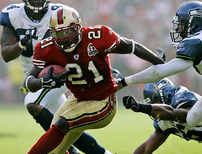 212 ... Frank Gore became the first player in 12 years and only the fourth in NFL history to rush for 212 or more yards without scoring a touchdown. The last to do it was Barry Sanders of the Lions was 26-for-237 against the Buccaneers without a TD on Nov. 13, 1994. The only other players in NFL history with 212 or more rushing yards in a game and no TDs are Thurman Thomas (214 yards in 1990 vs. the Jets) and Tom Wilson of the Rams (223 yards in 1956 against the Packers).
