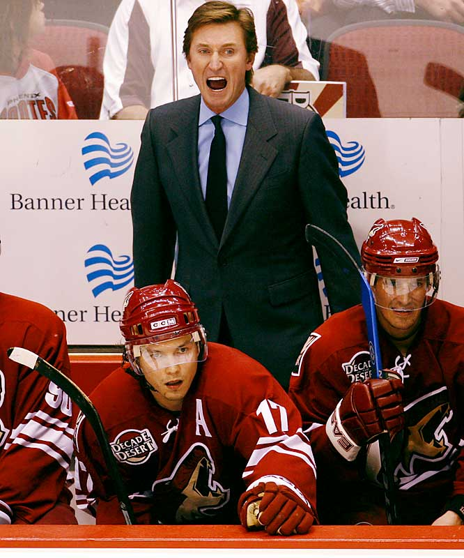 In 2001, Gretzky became a managing partner of the Phoenix Coyotes, moving behind their bench as their coach in 2005.