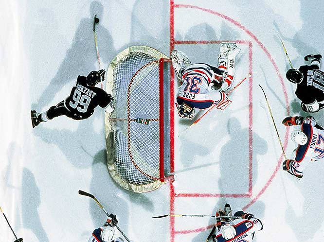 "Blessed with great vision and an uncanny sense of a play as it was still developing, Gretzky often set up shop behind the opposing team's net -- an area that became known as his ""office"" -- to better track the action and feed the puck to open teammates."