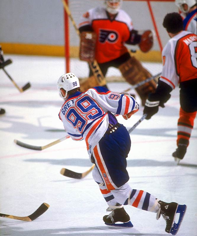 During his nine seasons in Edmonton, Gretzky began re-writing the NHL record book with single-season marks for goals (92, in 1981-82), assists (163, in 1985-86) and points (215, in 1985-86).