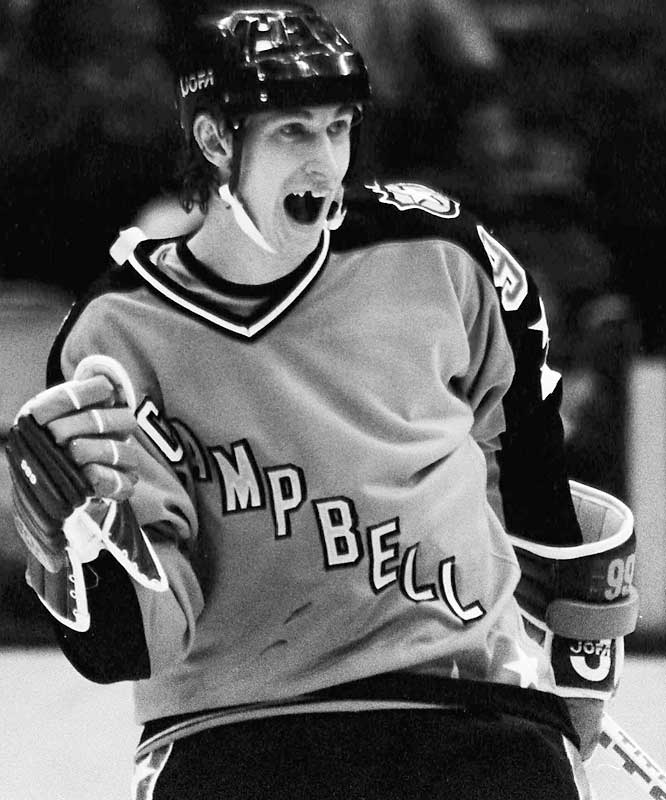 After a 43-goal rookie season in the WHA, during which he was sold to Edmonton for $850,000, Gretzky and the Oilers were absorbed by the NHL in 1979. He became an instant All-Star (the first of his 23 selections) and won the Hart Trophy that season after scoring 51 goals and 137 points.