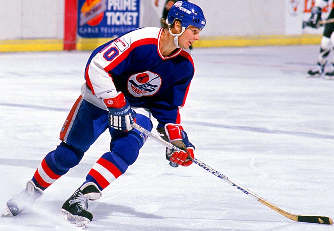 Only 18 years old, the first overall pick of the 1981 draft scored 45 goals and 103 points while launching the Jets on a 48-point improvement that was then the biggest one-season turnaround in NHL history.