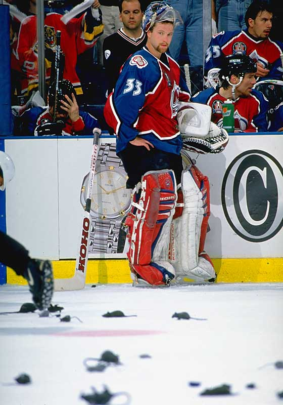 "Roy backstopped the Avs into the Stanley Cup Finals against the upstart Panthers, whose fans showered him with plastic rodents after he was scored upon twice in Game 3. ""No more rats,"" Roy famously declared, before shutting out Florida during the final 153 minutes, 12 seconds of the series, including his 1-0 Cup-clinching triple-OT victory in Game 4."
