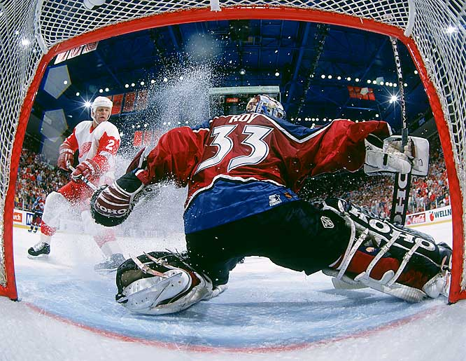 During Roy's eight years with Colorado, the Avalanche developed a nasty, often brutal rivalry with the Detroit Red Wings, who dethroned the defending Cup champs in the 1997 Western Conference Final, the second of the five times the two teams met in the postseason.