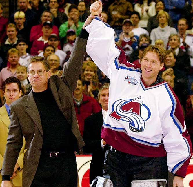 On Oct. 17, 2000, Roy broke Hall of Famer Terry Sawchuk's career victories mark (447) -- a record long considered unreachable -- by topping Washington 4-3 in OT. Three nights later, he was saluted by Sawchuk's son, Jerry, at a ceremony before the Avs' game against Florida. The city of Denver also got into the act, declaring Oct. 20 as Patrick Roy Day.
