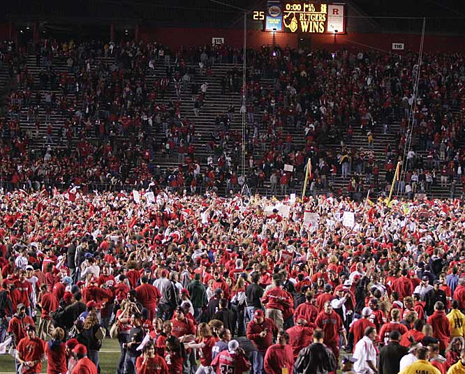 When it was over, Rutgers fans showed their support for their team, rushing the field and creating a mosh pit.