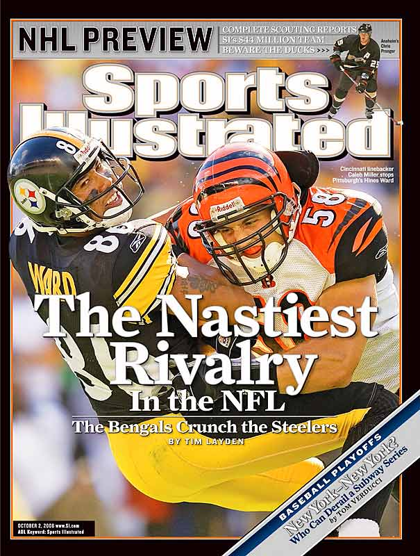Neither the defending Super Bowl champion Steelers nor the team that many predicted would win the AFC North this year have fared well since appearing on this cover. The Bengals proceeded to lose five of their next six and the Steelers dropped four of their next five.