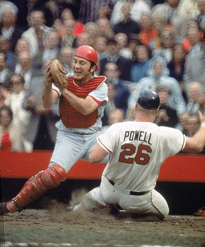 Boog Powell sliding into Johnny Bench in the 1970 World Series.