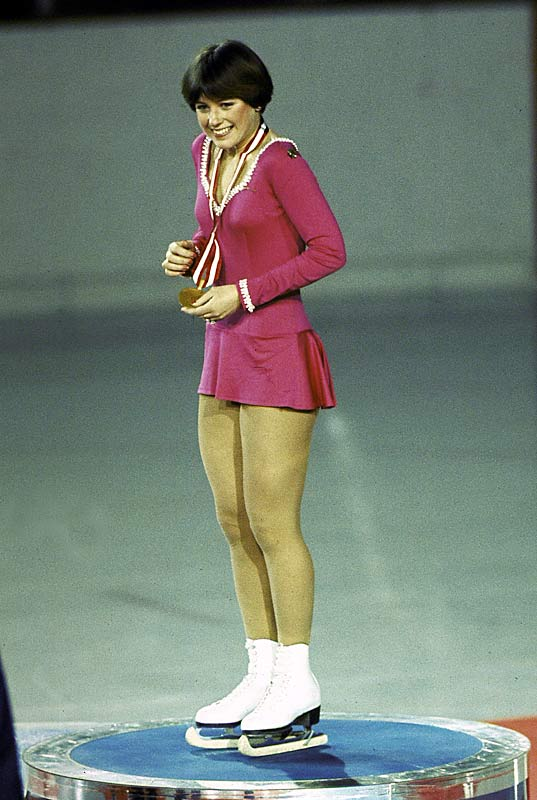 Dorothy Hamill receiving the gold medal at the 1976 Olympics.
