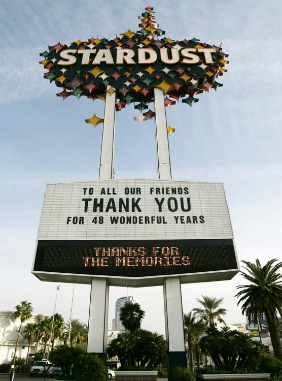 The end of an era. The famous Stardust Casino, home of Las Vegas' biggest sportsbook, closed its doors for good on Wednesday.