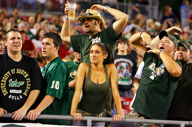 Jenn Sterger is among the USF fans left speechless after the Bulls' failed two-point conversion late in the fourth quarter cost the team a potential upset in a 22-20 loss to Rutgers.