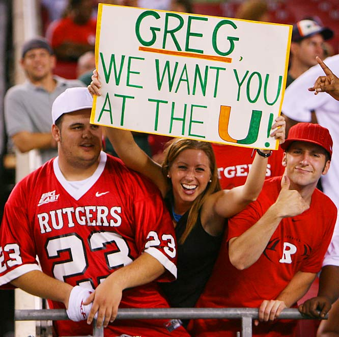 This Hurricanes fan made no secret of her desire to see Rutgers Coach Greg Schiano leave New Jersey for the soon-to-be vacant Miami job. Unfortunately, Schiano is staying put in Piscataway and the Hurricanes instead hired former defensive coordinator, Randy Shannon.