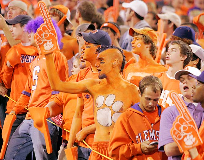We admire any fan who dons full body paint to support his team, but this fan earned our ultimate respect by topping it with a purple mohawk during Clemson's 31-7 trouncing of Georgia Tech.