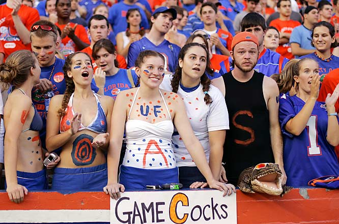 These Gator fans had some of the best seats in the house for Florida's 17-16 victory over former coach Steve Spurrier and his South Carolina squad.