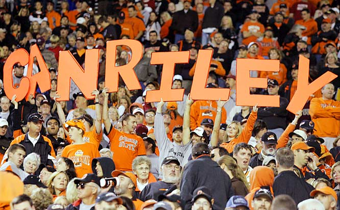 """Oregon State fans held up a """"CAN RILEY"""" sign at Reser Stadium as the Beavers fell to Washington State, 13-6, in early October."""