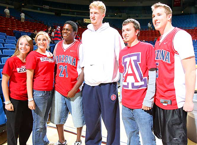 Arizona freshman forward Chase Budinger posed with fans prior to last week's game against UNLV.