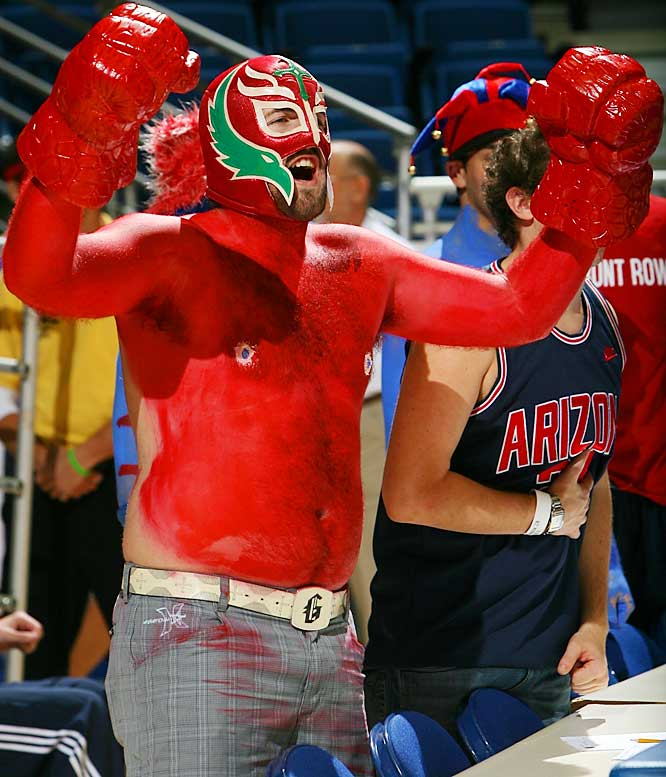 An Arizona fan was heavily into the bodypaint while cheering on the Wildcats during their 89-75 victory over UNLV last week.