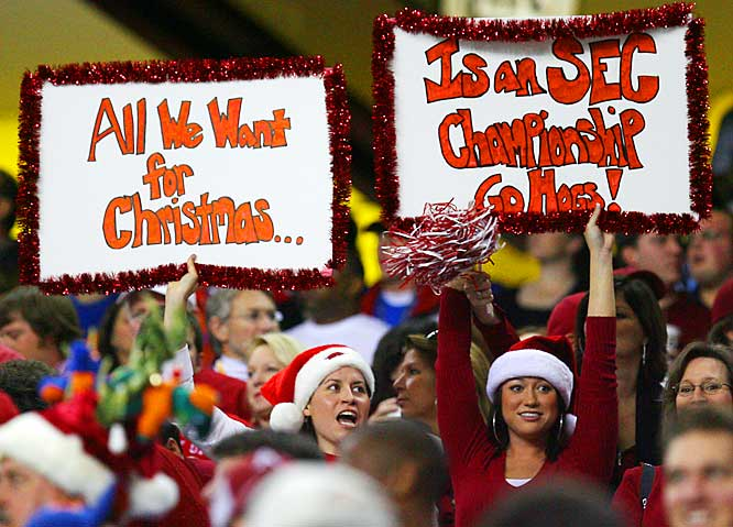 Unfortunately, these Arkansas fan didn't get their wish as the Gators defeated the Razorbacks, 38-28, to capture the SEC Championship on Saturday.