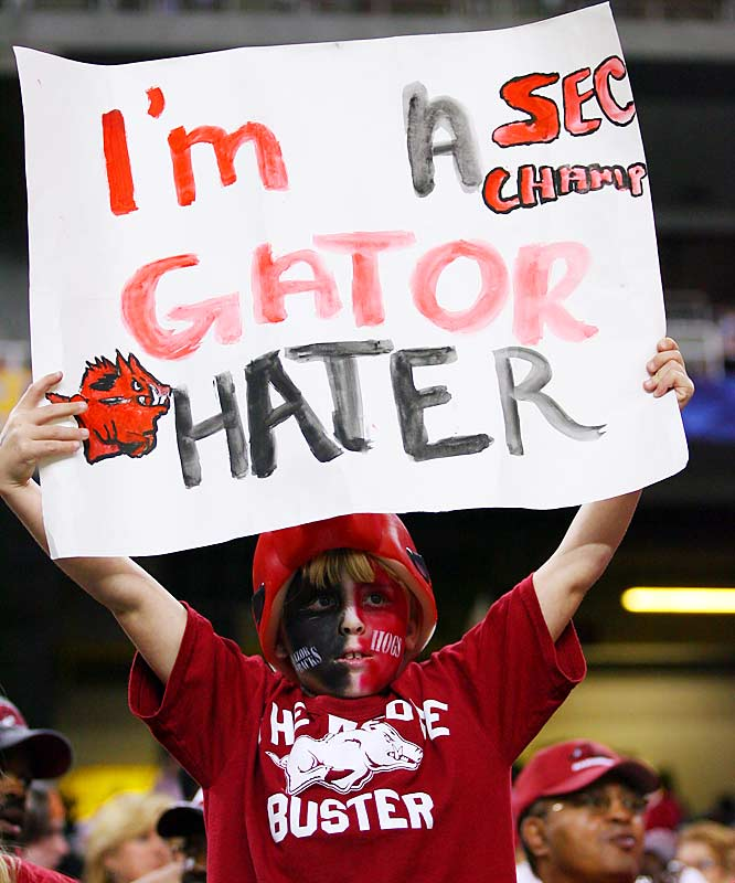This fan may be a Gator Hater, but he left Atlanta unhappy as the Razorbacks' quest to win the SEC Championship ended in disappointment.