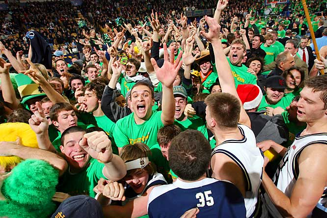Notre Dame fans flooded the court and forward Luke Harangody following a 99-85 upset of  No. 4 Alabama at South Bend last Thursday.