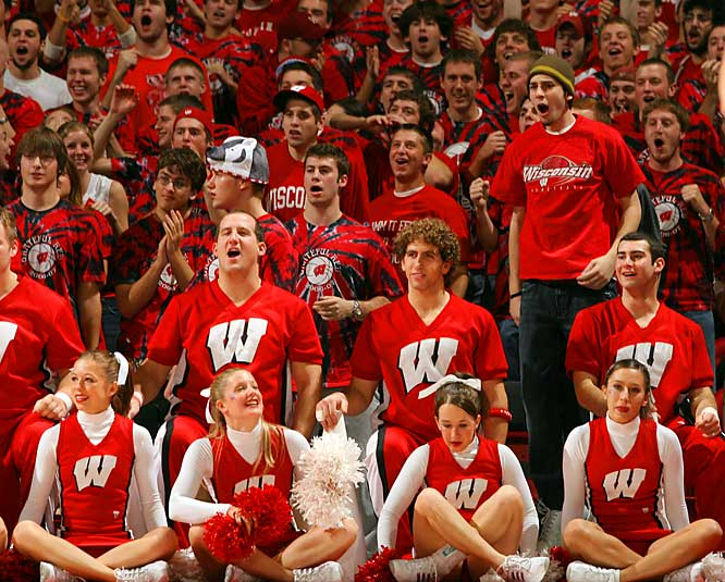 Cheerleaders and fans enjoy the action as the Badgers -- led by Alando Tucker's 32 points and 10 rebounds -- defeated Pitt.