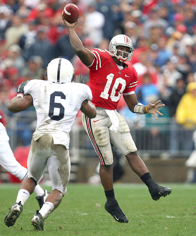 Smith's defining moment may have come against Penn State, when he avoided two defenders, reversed direction and hit Brian Robiskie for a 37-yard touchdown.