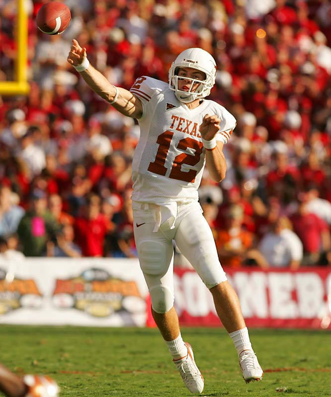 Strong performances in preseason camp earned McCoy the starting job, but mature decisions and big wins over the likes of Oklahoma and Nebraska helped ingratiate the red-shirt freshman with Longhorns fans who were still longing for Vince Young.