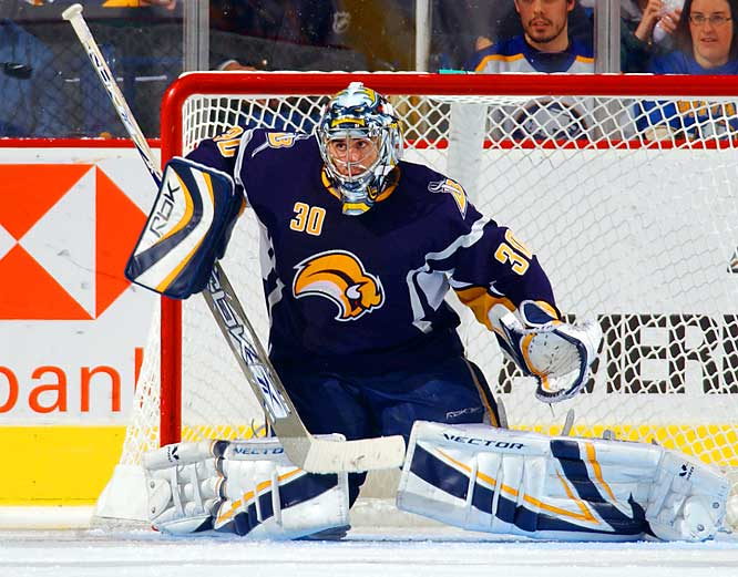 A fifth-round pick in 1999, Miller made only 18 appearances prior to last season when he steadily stole the starting job from Martin Biron. Finishing with 30-14-5, 2.60 GAA marks, Miller's time was the playoffs: 11-7, 2.58 as injury-ravaged Buffalo extended eventual-Cup champion Carolina to 7 games in the Eastern Conference Finals. This season, he got out of the gate with a solid 17-5-2, 2.71 mark for the formidable, free-wheeling Sabres.