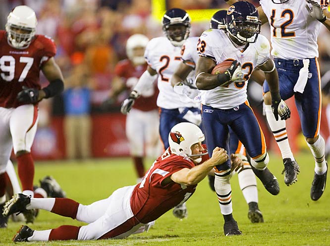 """Coach Denny Green's infamous Monday night postgame meltdown (""""The Bears were who we thought they were!"""") was the icing on a bitter cake for the Cardinals, who squandered leads of 20-0 at halftime and 23-3 in the second half and lost 24-23. The Bears scored only three points on offense, but returned two Arizona fumbles for TDs and got the game-winner on an 83-yard punt return by Devin Hester with 2:58 left to play."""