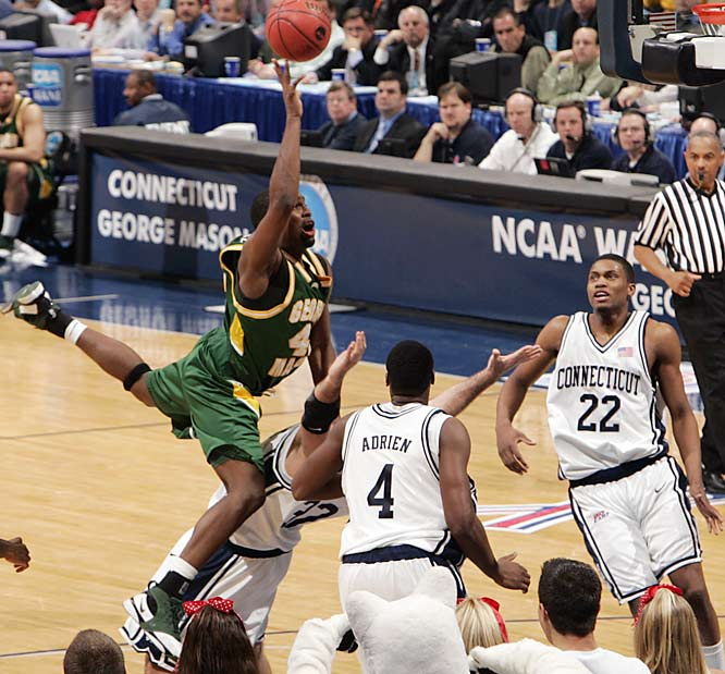 George Mason, a suburban commuter school located in Fairfax, Va., became the ultimate Cinderella story in 2006. After upsetting perennial powers Michigan State and North Carolina on their way to the Elite Eight, the Patriots stunned No. 1 seed Connecticut 86-84 in overtime to complete an unbelievable run to the Final Four. Mason became only the first team from the tiny Colonial Athletic Association to advance to the national semifinals, where it would lose to eventual champion Florida.