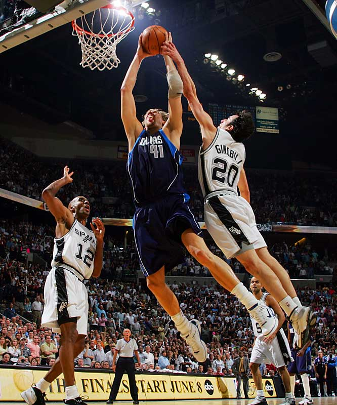 The Mavs ran out to an early 20-point lead before Tim Duncan (41 points, 15 rebounds, 6 assists, 3 blocks) and the Spurs clawed back, going up by three on Manu Ginobili's trey with 32 seconds left. Ginobili went from hero to zero by fouling Dirk Nowitzki (37 points, 15 rebounds) as the Dallas star made a lay-up. Nowitzki added the free throw to tie the game. Ginobili then missed the potential go-ahead shot in the closing seconds of regulation. Dallas won, 119-111, in OT.