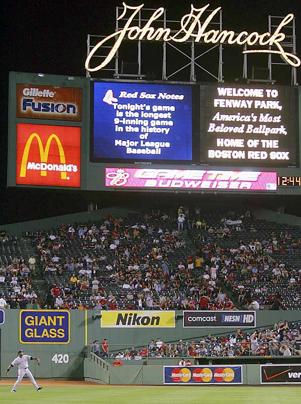 """The longest nine-inning game in major-league history -- a numbing 4 hours 45 minutes -- ended in a 14-11 win by the Yankees, who began a five-game sweep of the Red Sox in the day-night doubleheader at Fenway Park that began at 1:10 p.m. and ended at 12:52 a.m. """"I don't even remember half of it,"""" Yankees shortstop Derek Jeter said."""