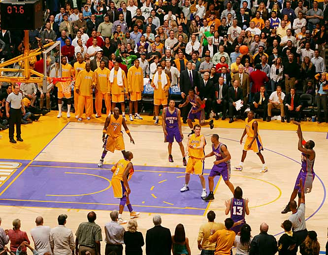 The upstart Lakers seemed ready to put away the Pacific champion Suns, but Tim Thomas tied it with a three-pointer with 6.3 seconds left in regulation. The Suns stormed back to win 126-118 in OT even though Kobe Bryant scored 50 (including 12 of the Lakers' 13 points in OT). Steve Nash had 32 points and 13 assists as the Suns forced Game 7, which they won by 31.