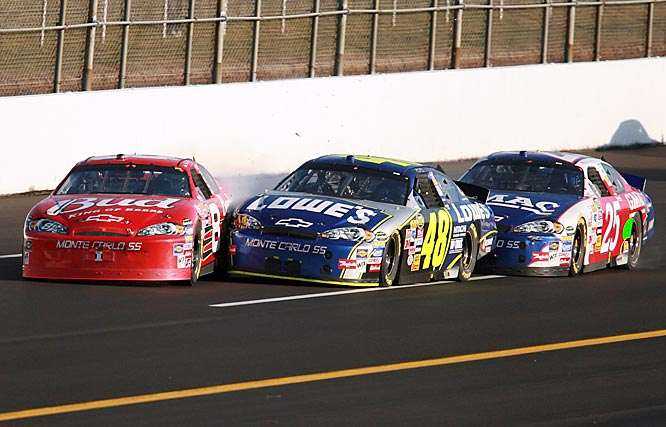 Coming out of Turn 2 on the final lap at Talladega, Dale Earnhardt, Jr. headed down the backstretch with Jimmie Johnson and Brian Vickers not far behind. When Johnson pulled down to pass, Vickers made a mistake and tapped the rear of Johnson's car, sending it into Earnhardt's and clearing the way for the 23-year-old Vickers to steal his first Nextel Cup win. Taking the checkers under a chorus of boos, the youngster appeared to have fouled up his teammate's championship chances. Vickers and Junior nearly ended their friendship and didn't speak for a week after the incident.