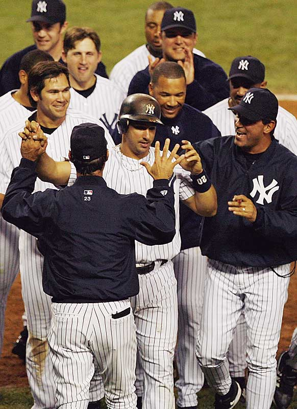Down 9-0 to the Rangers after an inning and a half, the Yankees fought back, capping off an historical rally with a two-out, two-run home run in the bottom of the ninth off the bat of Jorge Posada that gave them a 14-13 win. The comeback matched the biggest in the New Yorkers' storied history.