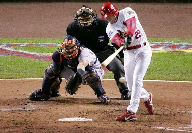 Never mind that the St. Louis Cardinals barely made it into the playoffs with an 83-78 record. Once there, they proved they belonged by dispatching the San Diego Padres, New York Mets and, finally, the Detroit Tigers in five games to win their first World Series title since 1982. Shortstop David Eckstein hit .364 to bag the MVP honors.