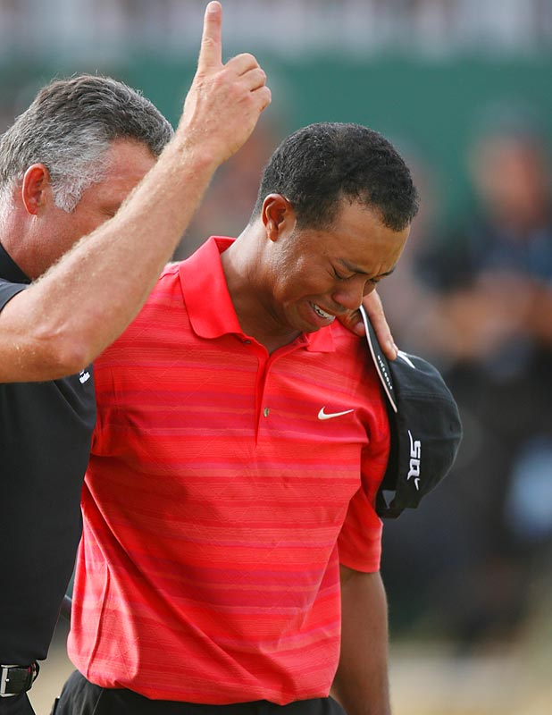 Tiger Woods dedicated his emotional victory at Royal Liverpool to the memory of his father, Earl, who had died earlier in the year. A month later, Woods won by five strokes at the PGA, giving him his 12th career major, just six behind Jack Nicklaus.